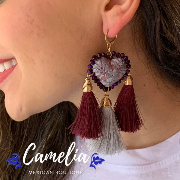 Oaxacan Embroidered Heart Tasseled Earrings - Plum Silver