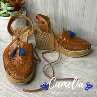 Mexican Leather Wedge Sandals with Tassel