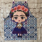 Frida Kahlo Apron BLUE TILE