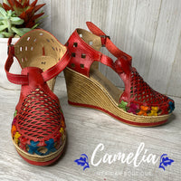Mexican Leather Wedge Sandals Laser Cut