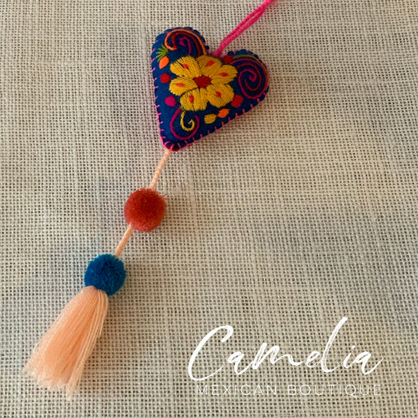 Mexican Felt Ornament Heart with Poms