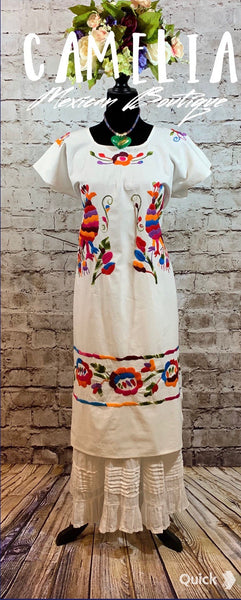 Mexican Huipil Dress with Shawl Paradise