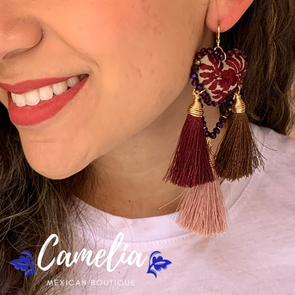 Oaxacan Embroidered Heart Tasseled Earrings - Plum