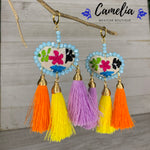 Oaxacan Embroidered Heart Tasseled Earrings - Rainbow