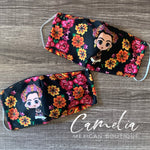 Face Mask Printed FILTER POCKET FLORAL FRIDA DOLL