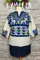 Corn Motif Mexican Blouse 3/4 Sleeve