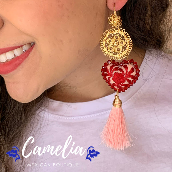 Oaxacan Filigree Embroidered Heart Tasseled Earrings - Pink