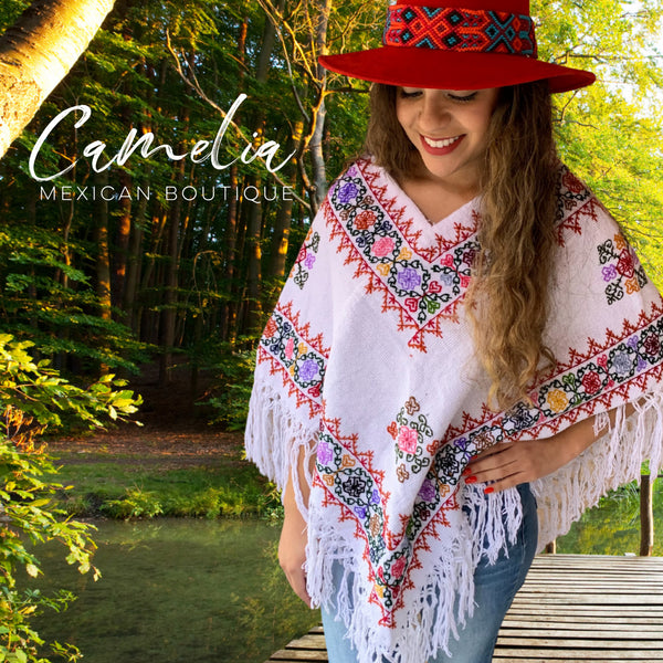 Mexican Cape Poncho Cross Stitch White Geo