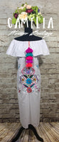 Off Shoulder Puebla Mexican Dress Long