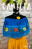 Off Shoulder Mexican Blouse Silk Embroidery