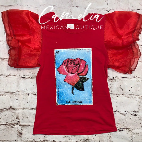 Mexican Loteria Shirt LA ROSA - GIRLS
