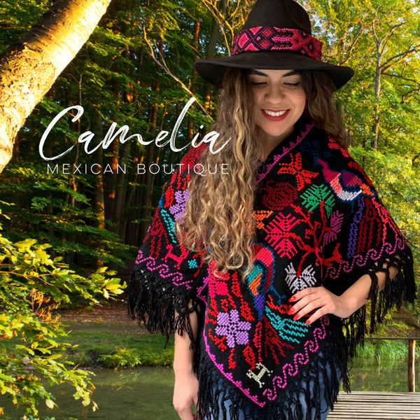Mexican Cape Poncho Cross Stitch Black Peacock