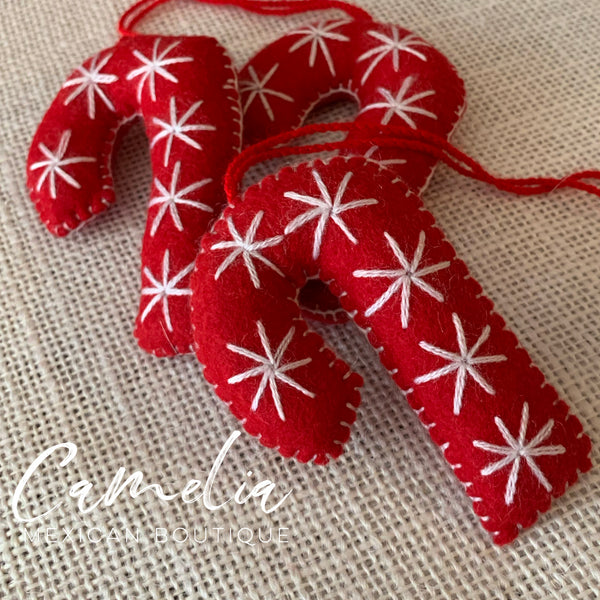 Mexican Felt Ornament Christmas Candy Cane Small
