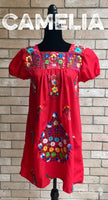 Puebla Mexican Dress Elastic Sleeve