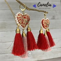 Oaxacan Embroidered Heart Tasseled Earrings - Red