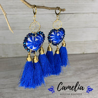 Oaxacan Embroidered Heart Tasseled Earrings - Blue