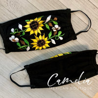 Mexican Embroidered Face Mask SUNFLOWER FIELD