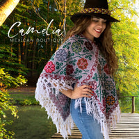 Mexican Cape Poncho Cross Stitch Heather Floral