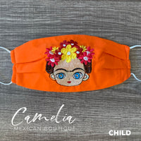 Mexican Embroidered Face Mask FRIDA FLOWER CROWN CHILD