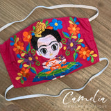 Mexican Embroidered Face Mask FRIDA DOLL