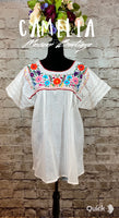 Boho Peasant Mexican Blouse Split Back