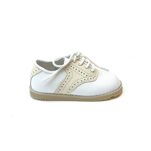 L'Amour Boys Luke Beige Two Tone Leather Saddle Shoe - Lamourshoes.com