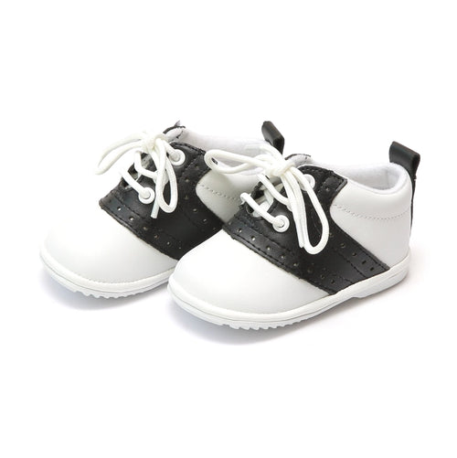 Angel Baby Boy's Austin Black Leather Saddle Oxford Shoe (Baby) - Lamourshoes.com
