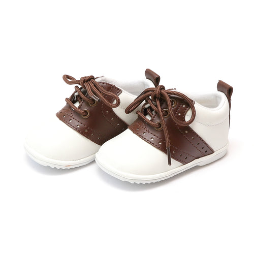Angel Baby Boy's Austin Brown Leather Saddle Oxford Shoe (Baby) - Lamourshoes.com