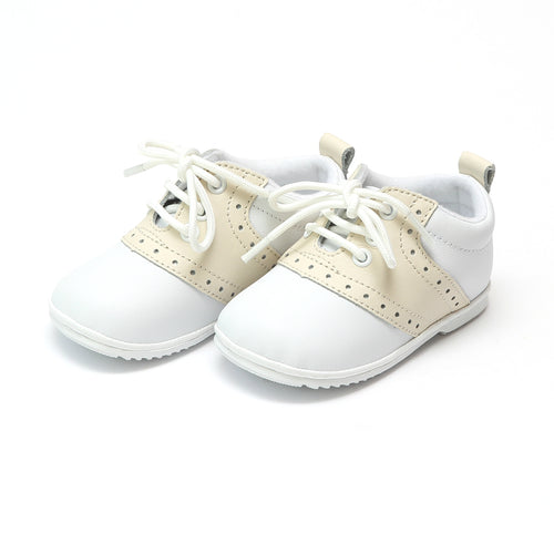 Angel Baby Boy's Austin Beige Leather Saddle Oxford Shoe (Baby) - Lamourshoes.com