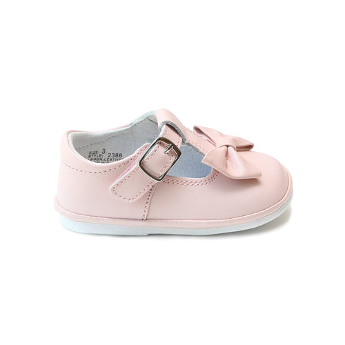 Minnie Bow Pink Leather Mary Jane (Baby) - Angel Baby Shoes