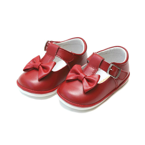 Minnie Bow Red Leather Mary Jane (Baby) - Angel Baby Shoes