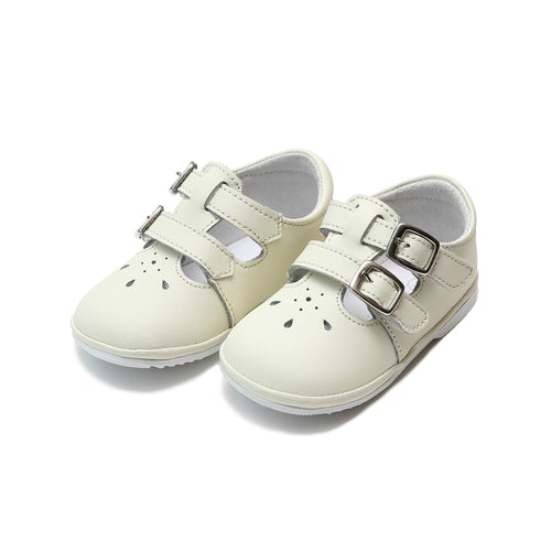 Hattie Double Buckle Ecru Leather Mary Jane (Baby) - L'Amour Shoes Angel Baby Shoes