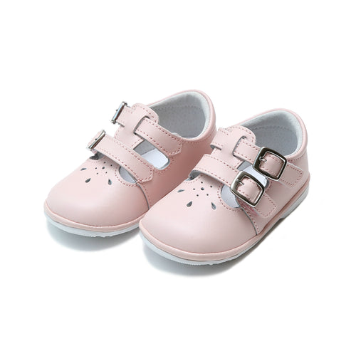 Hattie Double Buckle Pink Leather Mary Jane (Baby) - L'Amour Shoes Angel Baby Shoes