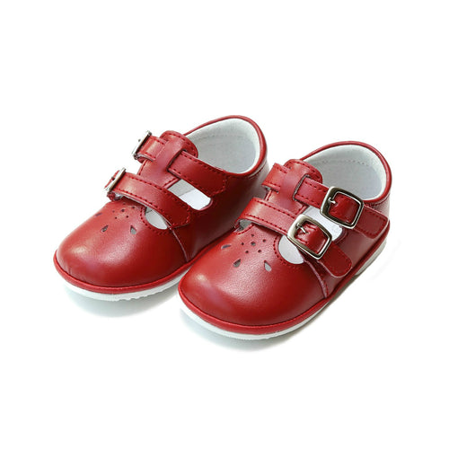 Hattie Double Buckle Red Leather Mary Jane (Baby) - L'Amour Shoes Angel Baby Shoes