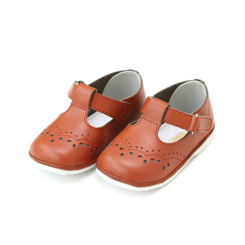 Birdie Cinnamon Leather T-Strap Stitched Mary Jane (Baby) - Angel Baby Shoes