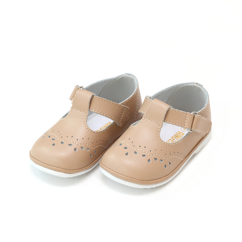 Birdie Latte Leather T-Strap Stitched Mary Jane (Baby) - Angel Baby Shoes