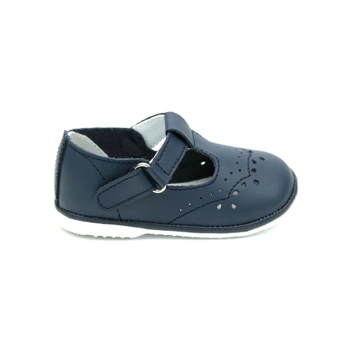 Birdie Navy Leather T-Strap Stitched Mary Jane (Baby) - Angel Baby Shoes