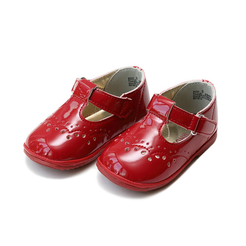Birdie Patent Red T-Strap Stitched Mary Jane (Baby) - Angel Baby Shoes