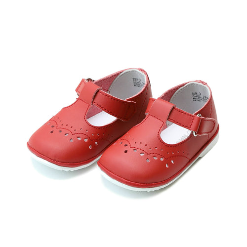 Birdie Red Leather T-Strap Stitched Mary Jane (Baby) - Angel Baby Shoes