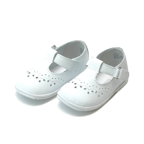 Birdie White Leather T-Strap Stitched Mary Jane (Baby) - Angel Baby Shoes