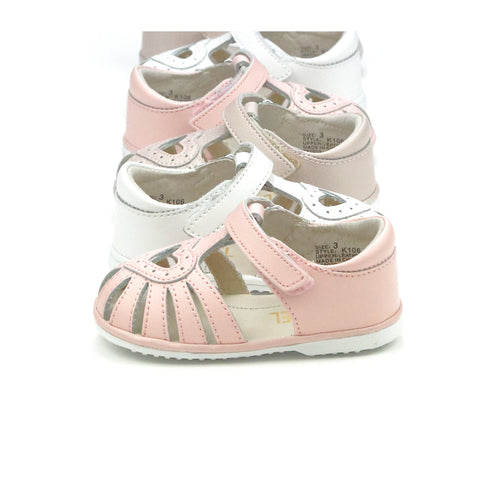 Angel Baby Girls Emmie White Open Heart Caged Leather Sandal (Baby)