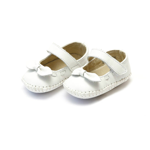 Clara Leather Stitched Crib Bow Mary Jane (Infant) - L'Amour Baby Shoes
