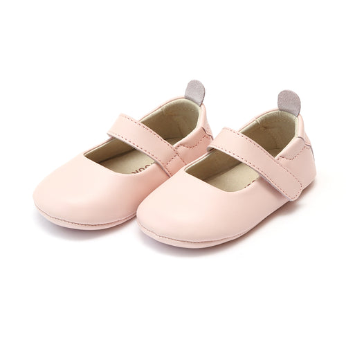 L'Amour Girls Charlotte Pink Leather Crib Mary Jane (Infant) - lamourshoes.com