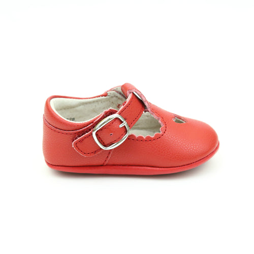 Rosalie Red Heart Crib Mary Jane (Infant) - Lamourshoes.com
