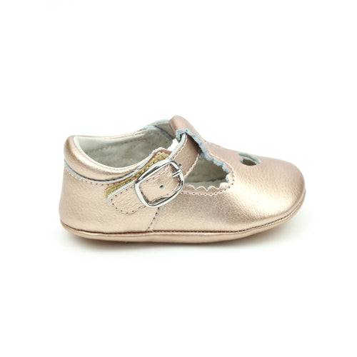 L'Amour Girls Rosalie Rosegold Heart Crib Mary Jane (Infant)