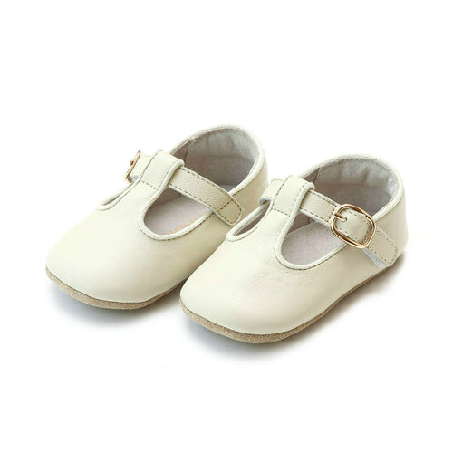 Evie Napa Leather Girls Beige T-Strap Mary Jane Crib Shoe (Infant) - L'Amour Shoes