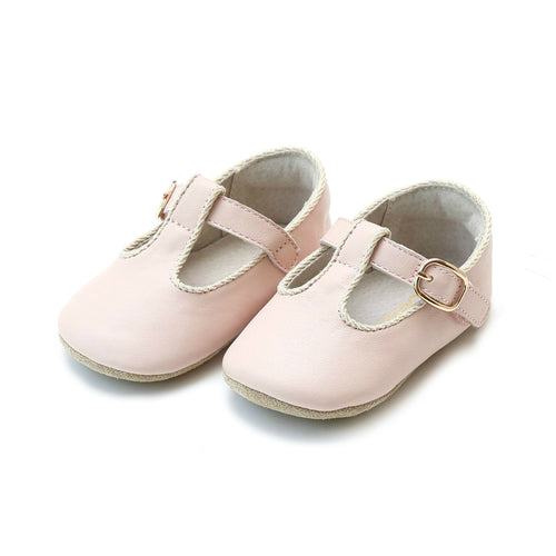 Evie Napa Leather Girls Pink T-Strap Mary Jane Crib Shoe (Infant) - L'Amour Shoes