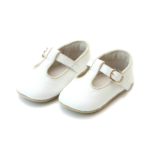 Evie Napa Leather Girls White T-Strap Mary Jane Crib Shoe (Infant) - L'Amour Shoes