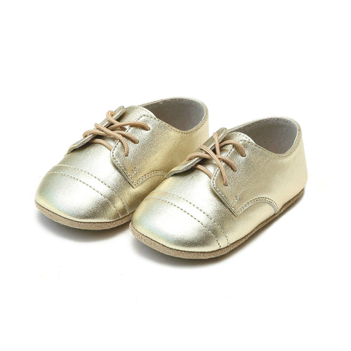 Bailey Gold Napa Leather Derby Lace Up Crib Shoe (Infant) - L'Amour Shoes