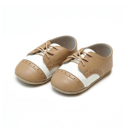 Bentley Leather White/Tan Saddle Crib Shoe (Infant)- L'Amour Shoes